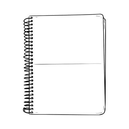 Vector sketch of notepad. Hand draw illustration. Иллюстрация