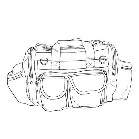 pockets: Vector sketch sports bag with pockets. Hand draw illustration.