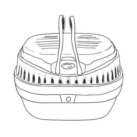 gnawer: Vector sketch pet dog travel cage. Hand draw illustration.