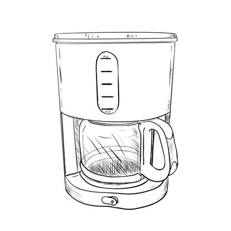 kitchen equipment: Vector sketch of electric coffee maker. Hand draw illustration. Illustration