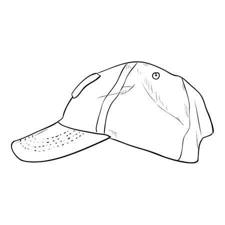 Vector sketch cap template. Hand draw illustration.