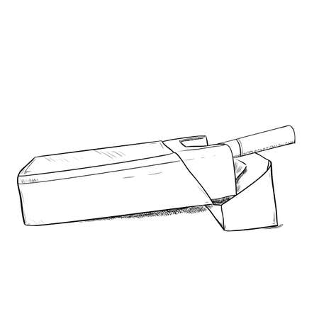 baccy: Vector sketch of a pack of cigarettes. Hand draw illustration.