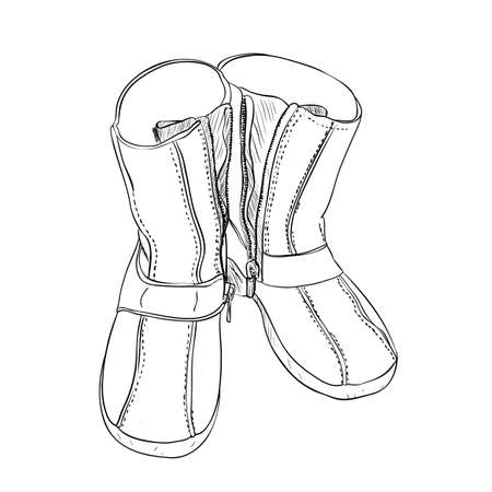 wellingtons: Vector sketch of shoes. Hand draw illustration.