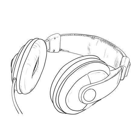 headphone: Vector sketch of headphones. Hand draw illustration.