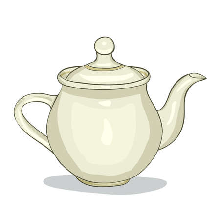 dinnerware: Color vector illustration digital painting of the kitchen teapot