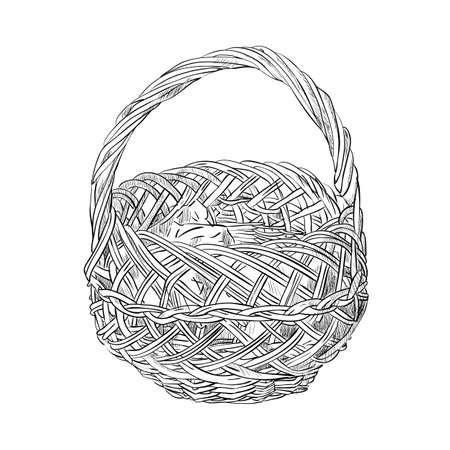 wicker: Vector sketch of wicker basket. Hand draw illustration.