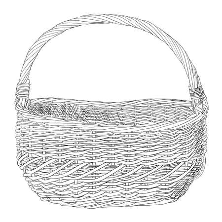 Vector sketch of wicker basket. Hand draw illustration.