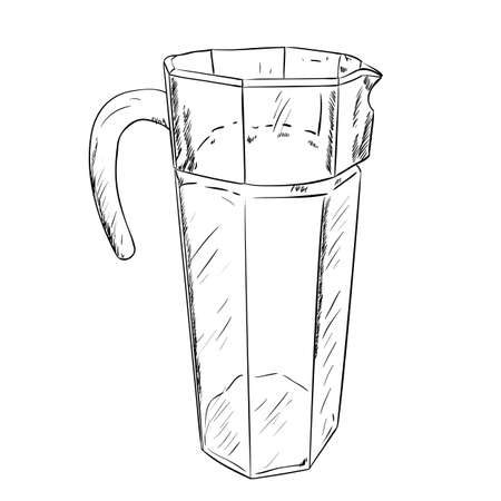 bailer: Vector sketch of carafe. Hand draw illustration.
