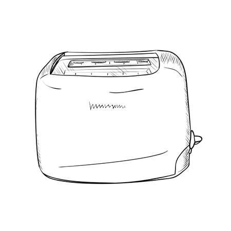 bread maker: Vector sketch of toaster. Hand draw illustration.