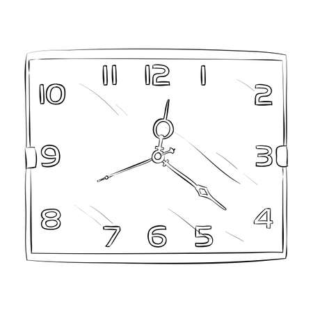 numerical: Vector sketch of clock. Hand draw illustration.