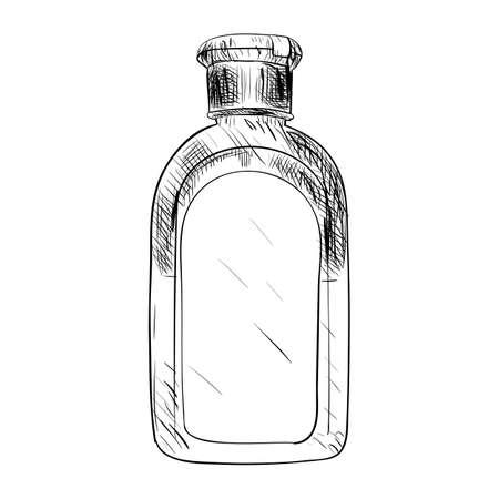 unprinted: Vector sketch of bottle. Hand draw illustration.