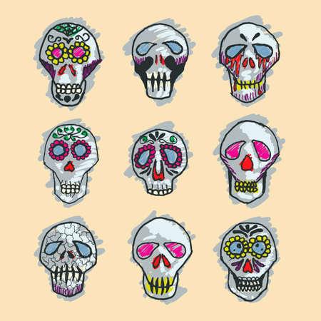 muertos: Mexican sugar skulls, Dia de los Muertos icons set