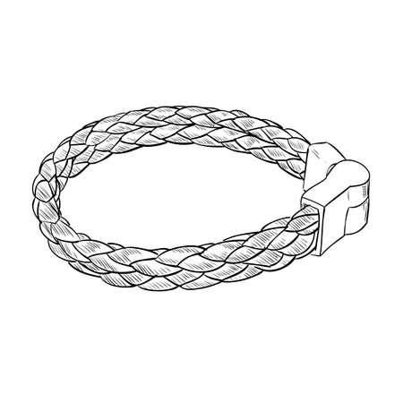 Vector sketch of leather bracelet. Hand draw illustration.