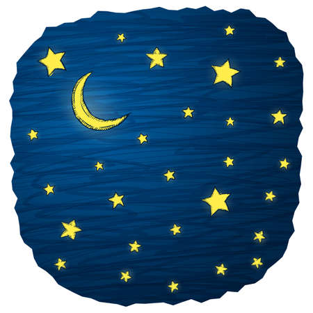 hand drawn cartoon: Night sky hand draw vector illustration with stars and moon