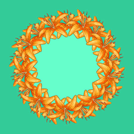 tiger lily: Greeting invitation cards of orange flowers with round place for text. Vector illustration