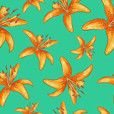 tiger lily: Seamless pattern of orange flowers. Vector illustration