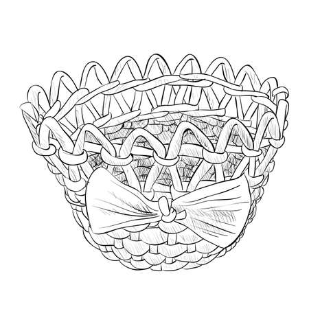 wattle: Vector sketch of wicker basket with ribbon. Hand draw illustration.