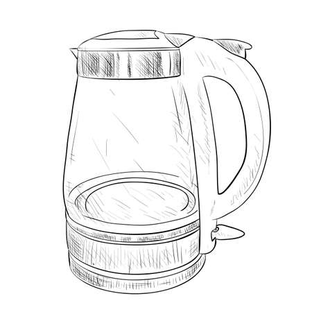 electric kettle: Vector sketch of glass electric kettle. Hand draw illustration. Illustration