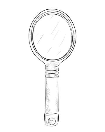 hand mirror: Vector sketch of hand mirror. Hand draw illustration.
