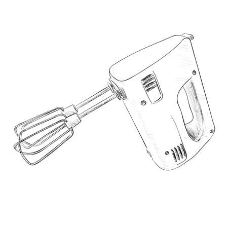 kitchen tool: Vector sketch of electric mixer. Hand draw illustration. Illustration