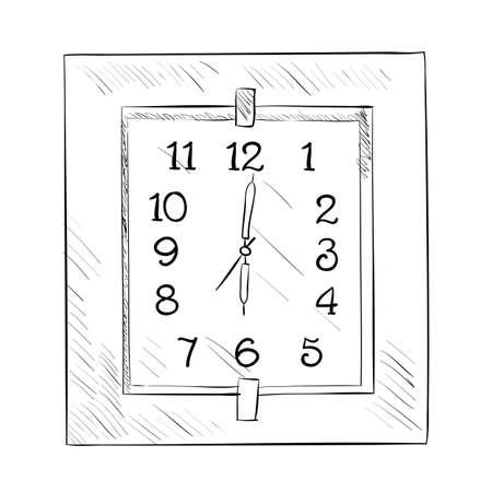 big timer: Vector sketch of clock. Hand draw illustration.