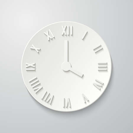 roman numerals: 3D paper flat clock icon with shadow. Dial with Roman numerals.  illustration for your design Illustration