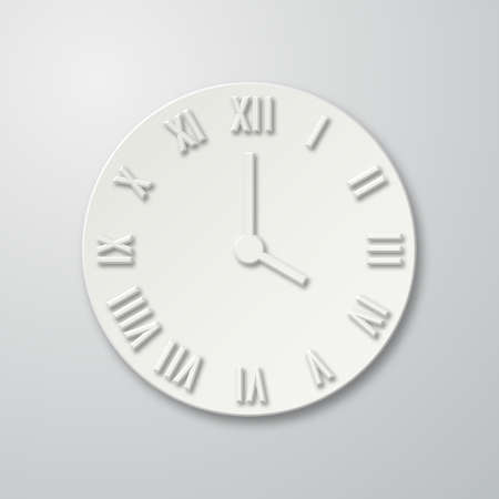 numeros romanos: icono del reloj plana de papel 3D con sombra. Marque con n�meros romanos. ilustraci�n para su dise�o