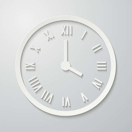 roman numerals: 3D paper flat clock icon with shadow. Dial with Roman numerals. illustration for your design
