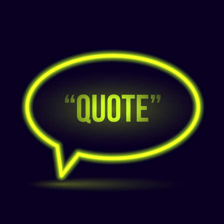 Glowing neon speech bubble icon for text quote. Vector blank template Çizim