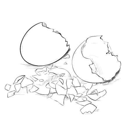 Vector sketch of broken eggs and eggshell. Hand draw illustration.