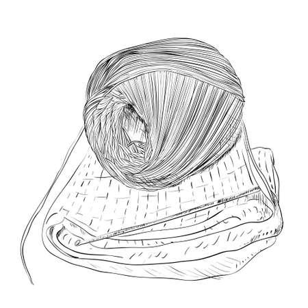 Vector sketch of yarn balls, hook and sweater. Hand draw illustration. Vektoros illusztráció
