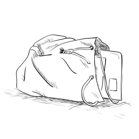attrition: Vector sketch bag with a tablet inside. Hand draw illustration.
