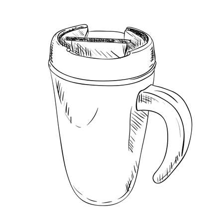 thermo: vector sketch of thermo cup with handle. Hand draw illustration.