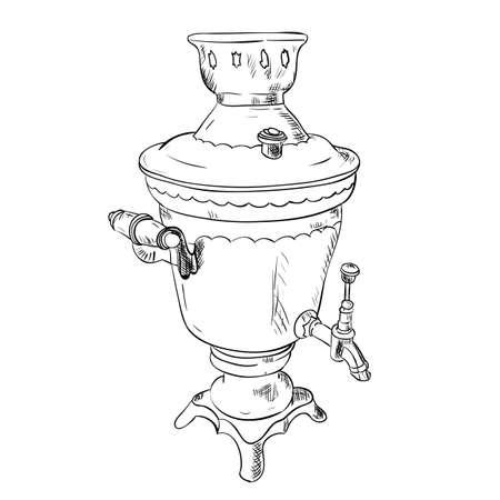 samovar: Vector sketch of Samovar. Hand draw illustration. Illustration