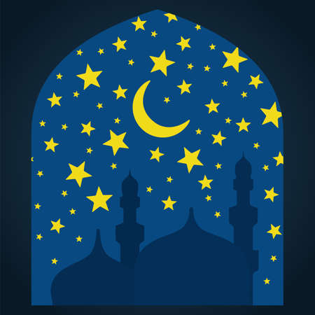 community event: Ramadan Kareem greeting with mosque on night background. Vector sketch illustration.