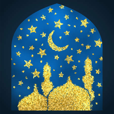 festive occasions: Ramadan Kareem greeting. Golden sand of stars and moon. Mosque of gold glitter particles. Vector sketch illustration.