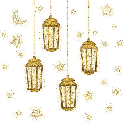 Ramadan Kareem greeting with golden lantern. Golden sand of stars and moon. Vector sketch illustration.