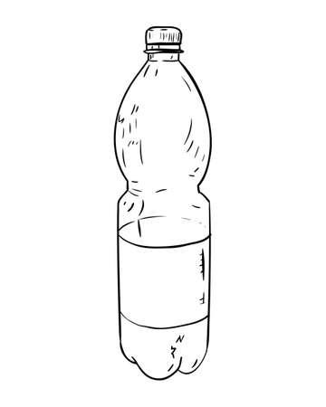 unprinted: Vector sketch of plastic bottle. Hand draw illustration. Illustration