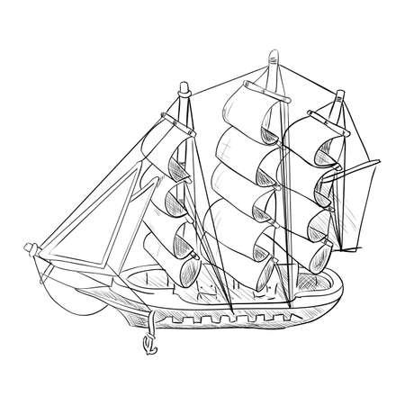 Vector sketch of ship model. Hand draw illustration.