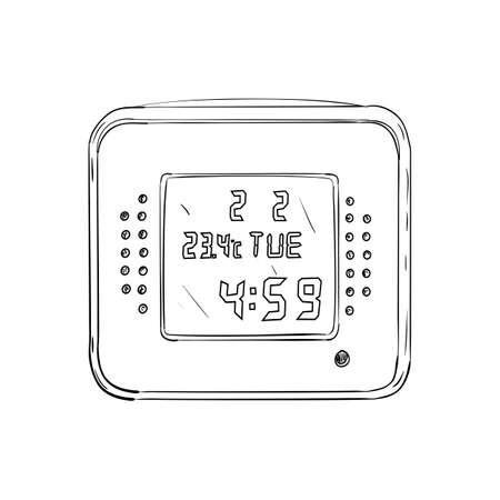 big timer: Vector sketch of digital watch. Hand draw illustration.