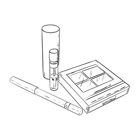 rouge: Sketch set of cosmetic products, consisting of a blush, lipstick and mascara Illustration