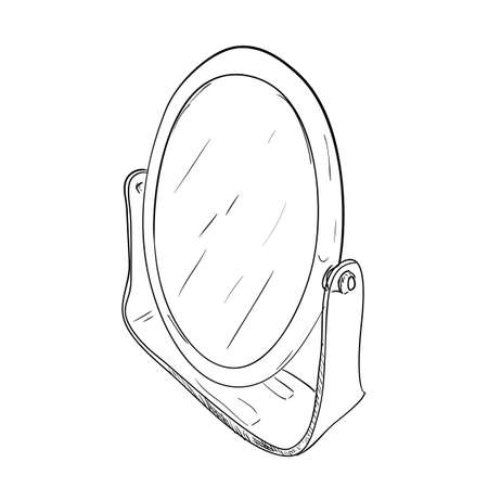 Sketch of desktop round mirror.