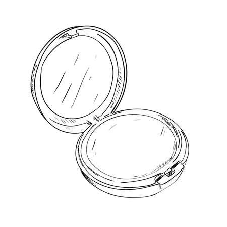 Sketch of powder box with mirror.