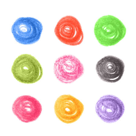 Grunge colorful chalk circles. Vector set design elements on white background