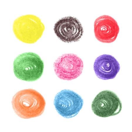 vintage colors: Grunge colorful chalk circles. Vector set design elements on white background