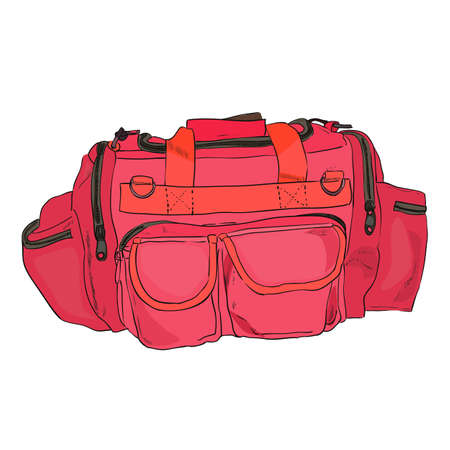 Vector color sketch sports bag with pockets. Hand draw illustration.