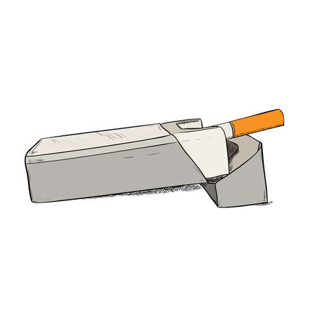 baccy: Vector color sketch of a pack of cigarettes. Hand draw illustration.