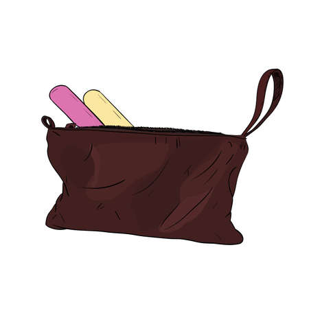 Sketch color set of cosmetics for the care of nails in a handbag. Vector illustration