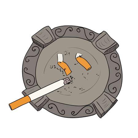 Vektor Farbe Skizze Aschenbecher mit Zigarette. Hand zeichnen Illustration.