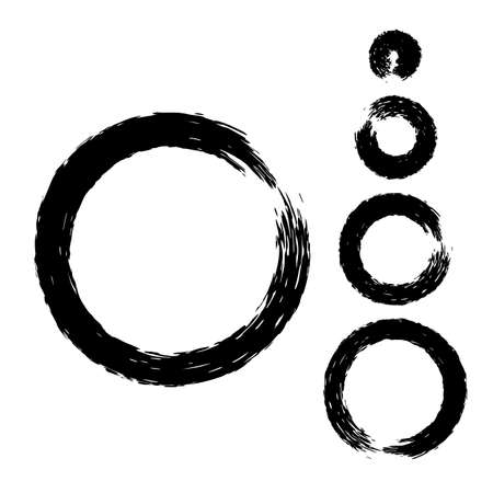 Grunge circle with brush. Set of black round brushes. Collection of vector graphics elements for your design Illustration